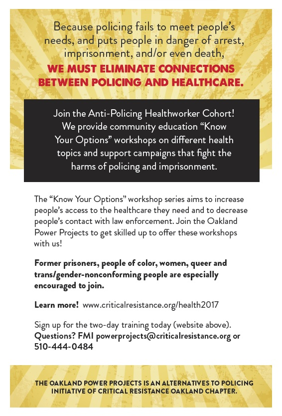 Anti-Policing Health Workers Two Day Training @ Oakland | California | United States